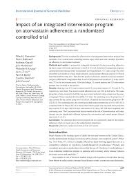 pdf impact of an integrated intervention program on atorvastatin adherence a randomized controlled trial