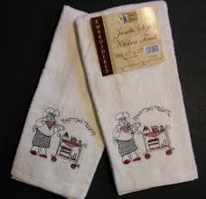 fat chef embroidered kitchen towels set of 2 dessert tempting treats new
