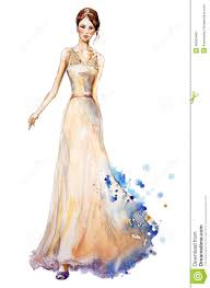 Watercolor Fashion Illustration Beautiful Young Girl In A Long