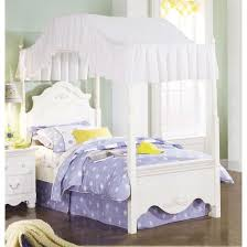 Twin size Victorian Style White Wood Canopy Bed - Fabric Not ...