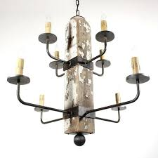 wood iron chandelier handmade custom 8 light reclaimed porch post by made rustic and lighting