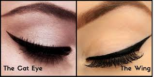 your eye makeup on the other hand the winged eyeliner is all about creating a geometric bold and defined flick around the outer corner of your eye to