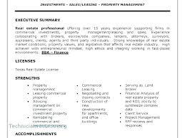 Resume Executive Summaries Resume Executive Summary Template Sample Of Real Estate