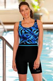 Waterpro Chlorine Resistant Blue Tropics Unitard Swimsuit
