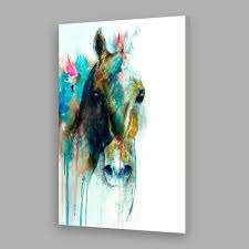 modern hand painted abstract green flow colors horse head canvas