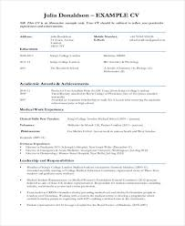 Curriculum Vitae Samples Enchanting 48 Sample Medical Curriculum Vitae Templates PDF DOC Free