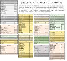 Sunshade Size Chart Windshield Sun Shade 210t Fabric Highest In The Market For Maximum Uv And Sun Protection Foldable Sunshade For Car Windshield Will Keep Your Car