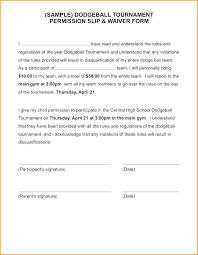 Sample Field Trip Permission Slips Parent Permission School Waiver Sample Letter Form Template