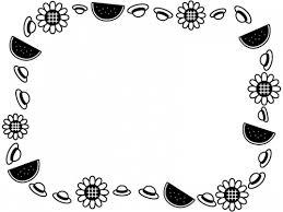 麦わら帽子とスイカとひまわりの囲み白黒フレーム飾り枠イラスト 無料