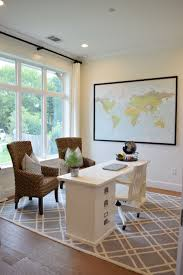 home office pottery barn. Home Office With Large Window, World Map Wall Decor, Wicker Chairs, Pottery Barn Bedford Desk And Geometric Wool Rug. Y