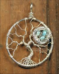 bird nest in tree of life pendant sterling silver wire wrapped nest tree mother s