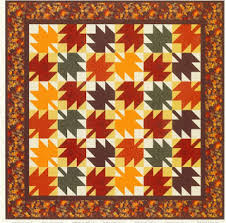Quilt Inspiration: Free Pattern Day ! Autumn Leaves quilts & Maple Leaf Log Cabins quilt, 35 x 44