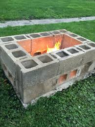 U Shaped Concrete Block Fire Pit Made From Cinder Blocks For The Home Design  Ideas Diamond