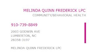 1750474722 NPI Number | MELINDA QUINN FREDERICK LPC | LUMBERTON, NC | NPI  Registry | Medical Coding Library | www.HIPAASpace.com © 2021
