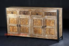 Indian Carved Rough Mango Wood Furniture 4 Door 4 Drawer With Iron