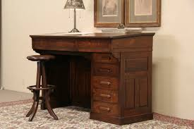 Oak 1900 Antique Railroad Tall Desk, Stool or Standing Height ...