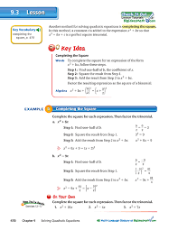 solving quadratic equations by completing the square game