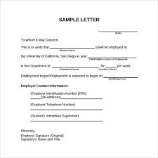Sample Of Letter Of Employment Verification 9 Verification Of Employment Letter Examples Pdf Examples