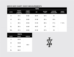 Size Chart Lucky7 Clothing