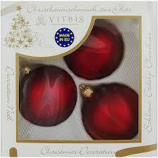 Vitbis Weihnachtskugeln Glas ø 8 Cm 3 Stück Dekor Bordeaux