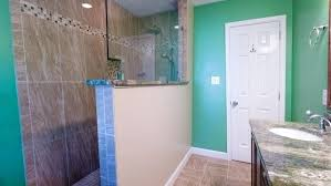 half wall shower glass after picture of tiled walk in shower half wall with glass and granite wall mounted shower glass