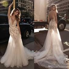 2017 berta lace mermaid wedding dresses deep v neck trumpet sweep