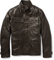 brown leather military jackets hugo boss leather field jacket