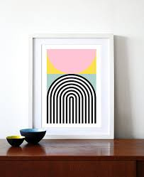 modern art for office. Abstract Geometric Poster Mid Century Modern Art Pastel Colour Print Kitchen Nordic Scandinavian Design Office - Brutal 2 50 X 70cm For A