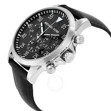 michael kors gage chronograph black dial black leather men s watch mk8442