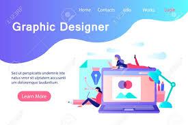 Banner In Web Design Graphic Designer Banner In Flat Style Creative Designers Working