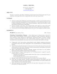 resume template summary it resume objectives with experience in marketing communication manager it resume