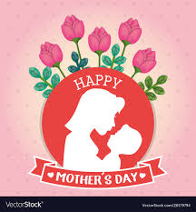 Mother Day Card Happy Mothers Day Card With Mom And Baby Vector Image