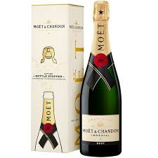 moet et chandon imperial brut chagne gift box with bottle stopper 750ml