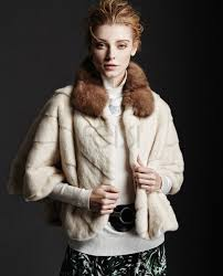 mink fur cropped jacket with sable fur collar 150a