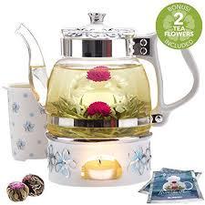 teabloom princess of monaco teapot blooming tea gift set 6 pieces 34 oz borosilicate glass teapot porcelain lid teapot warmer porcelain tea infuser