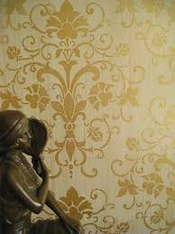 interior door decor bedroom traditional with gold wallpaper damask wall stencil old hollywood glamour