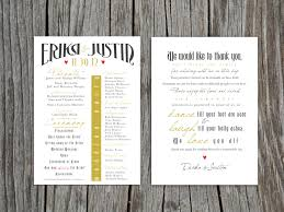 Printable Front And Back Wedding Program And Thank You Wedding Program Thank You Messages