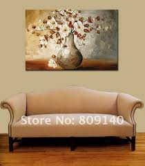Wall paintings for office Beautiful Flower Oil Painting Canvas White Grey Home Decoration Abstract High Quality Handmade Office Wall Art Decor Gift New Free Shippin Aliexpress Flower Oil Painting Canvas White Grey Home Decoration Abstract High