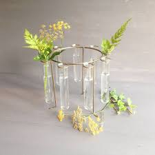 ... Ring Simple Test Tube Vases Contemporary Modern Minimalist Beaux Faux  Simple Perfect Green Flowers Grass Natural ...