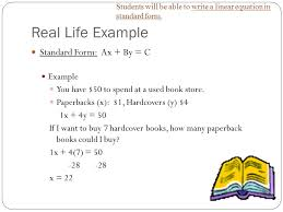 real life linear equations slide 17 likeness excellent students will able write equation standard form