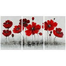 red poppy canvas print set of 3