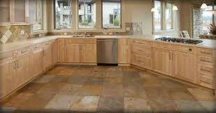 Bewitching Design Of Stylish Kitchen Floor Tile Idea With Pretty Brown  Wooden Cabinets