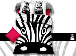 funny zebra head print 4 piece cotton duvet cover sets