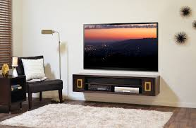 Floating Tv Stand Modular Brown Wooden Floating Tv Audio Stand With Two Open Shelves