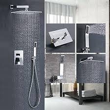 modern shower heads. Votamuta Bathroom Single Handle Shower Faucet Trim Valve Body Hand Complete Kit Modern Square, Polished Chrome Heads Amazon.com