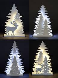 Led Light Up Christmas Tree Wooden White Light Up Decorations Christmas Led Ornament