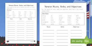 At, in, of, on, after, under. Veterans Day Nouns Verbs And Adjectives Sorting Activity