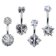 Amazoncom 4pcs Double Crystal Sexy Belly Ring Navel Piercing