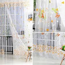 Großhandel Schmetterling Tulle Voile Fenster Vorhänge Tür Zimmer