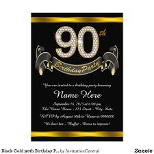 90 Birthday Party Invitations Black Gold 90th Birthday Party Invitation Zazzle Com